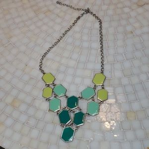 Ombre Teal and Green Hexagon Necklace